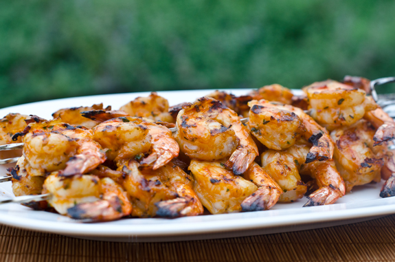 Grilled Shrimp Kebabs with Garlic & Herbs