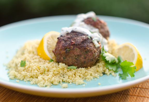 Serve the meatballs over couscous, topped with the yogurt sauce.