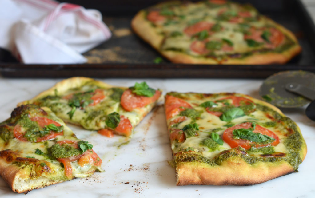 Pizza with Pesto, Fresh Tomatoes & Mozzarella - Once Upon a Chef