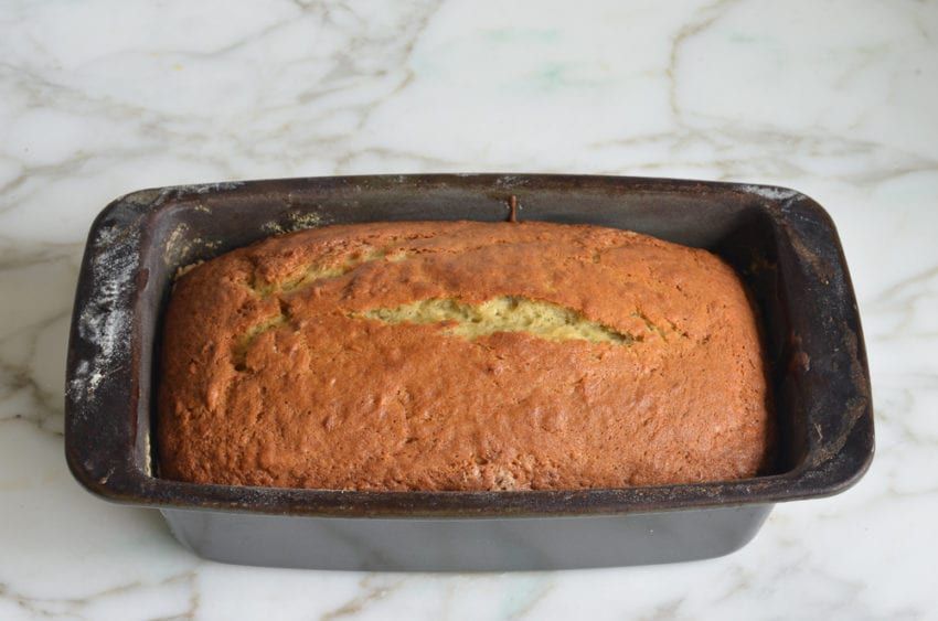 baked banana bread fresh out of the oven