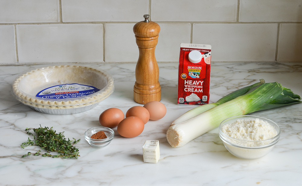 ingredients for parmesan leek quiche