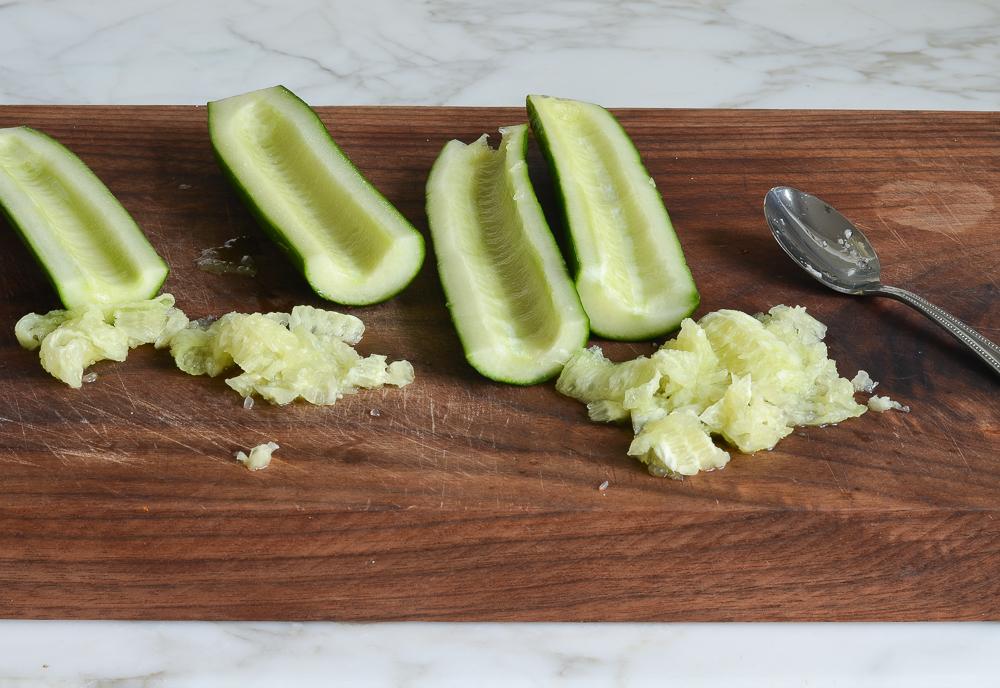 seeding the cucumbers