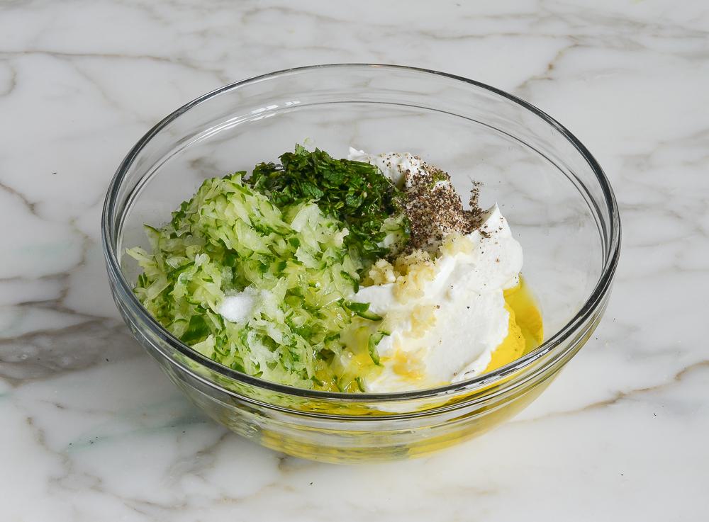 tzatziki ingredients in mixing bowl