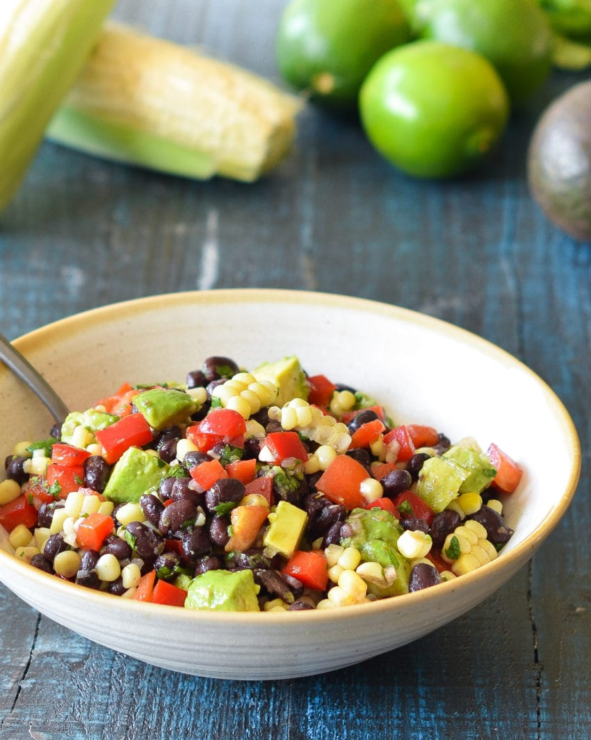 Black Bean Salad With Corn Red Peppers Avocado Amp Lime Cilantro Vinaigrette