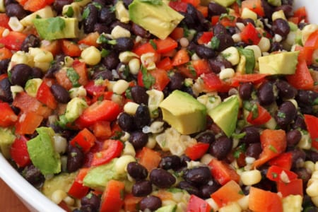 Black Bean Salad with Corn, Red Peppers & Avocado With Lime-Cilantro Vinaigrette