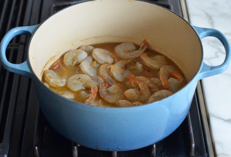 adding shrimp to broth