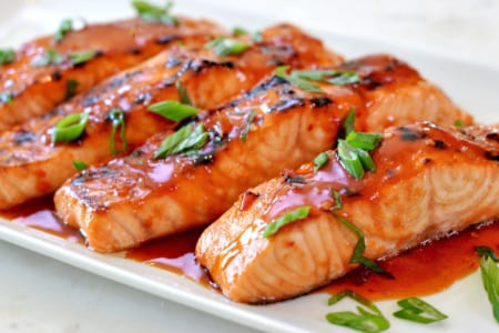 Broiled Salmon with Thai Sweet Chili Glaze