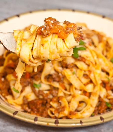 Fettucine-bolognese