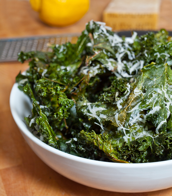 Crispy Kale Chips With Lemon And Parmesan Once Upon A Chef