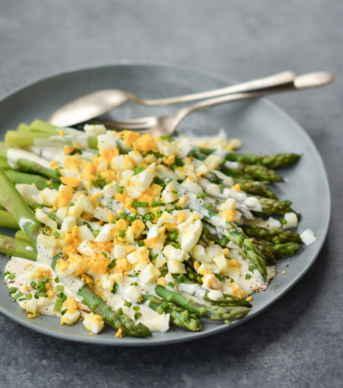 Asparagus Salad with Hard Boiled Eggs and Creamy Dijon Dressing