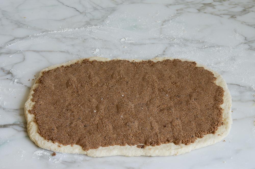 filling spread on dough