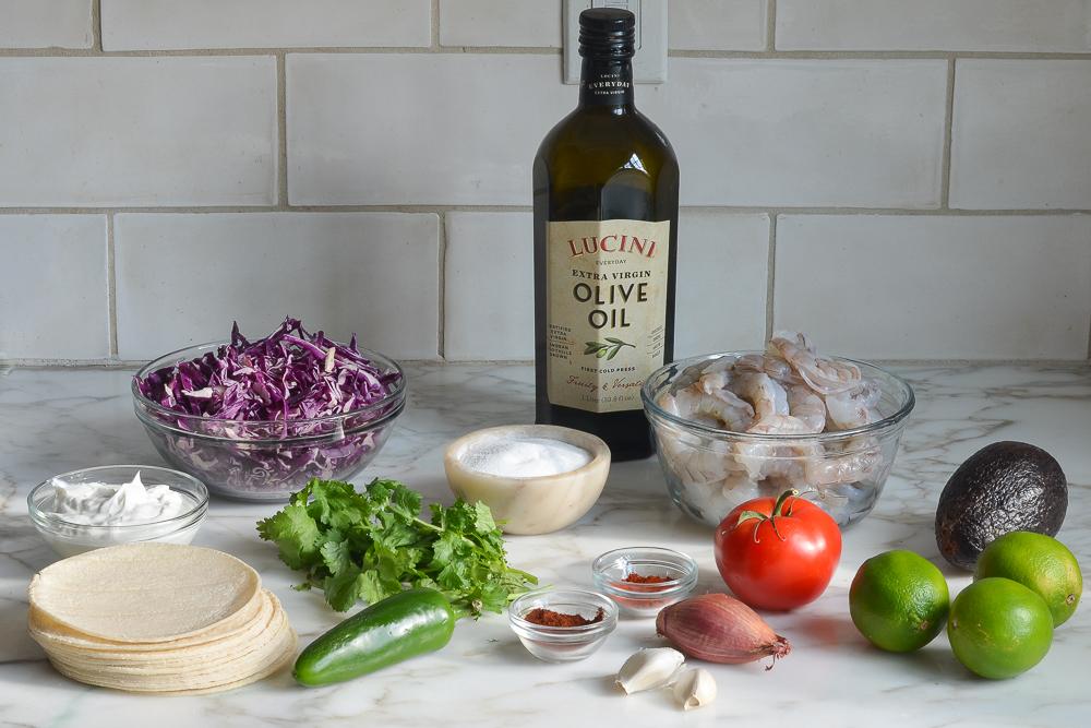 ingredients for grilled shrimp tacos