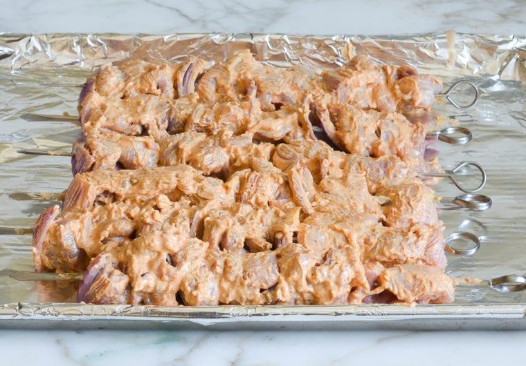 chicken kabobs ready to marinate