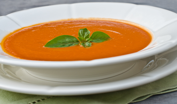 Chilled Creamy Tomato Basil Soup - Once Upon a Chef Cream Of Tomato Soup With Garnish