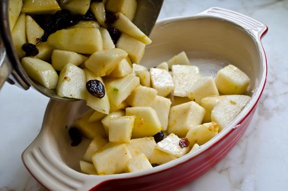 adding-fruit-to-baking-dish