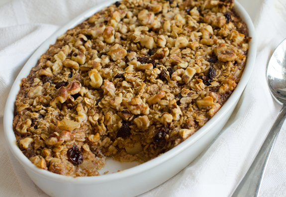 Amish Style Baked Oatmeal With Apples Raisins Walnuts