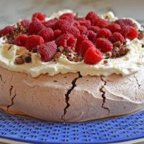 Double Chocolate Pavlova with Mascarpone Cream & Raspberries