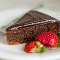 Flourless Chocolate Almond Cake with Chocolate Ganache Frosting