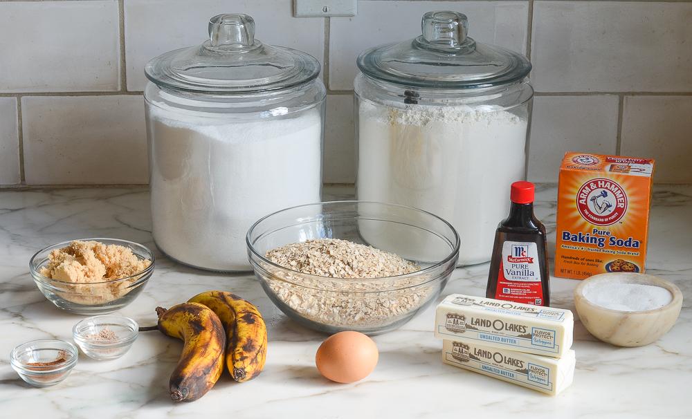 ingredients for banana oatmeal cookies