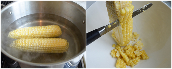 boiling corn and cutting kernels off the cob