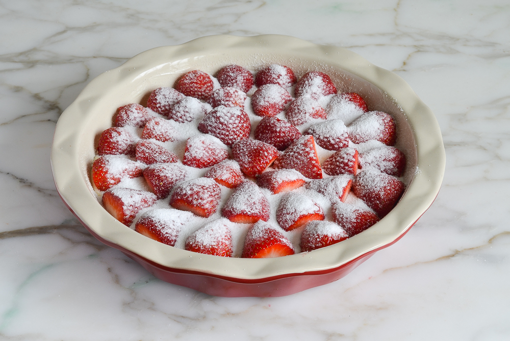 strawberries sprinkled with sugar