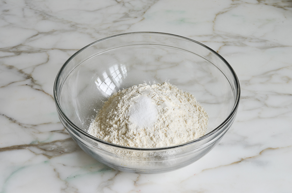 dry ingredients in mixing bowl