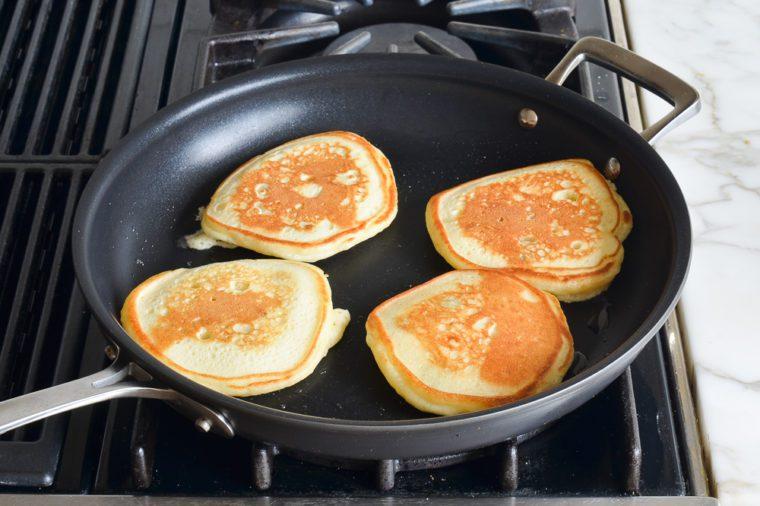 flipped blueberry pancakes