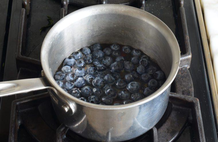 blueberries in saucepan