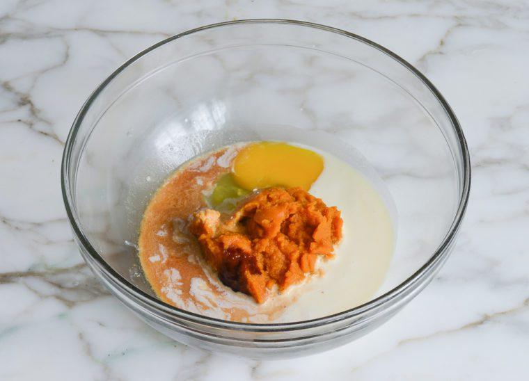 wet ingredients for pumpkin scones