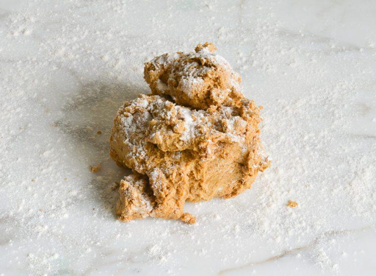 pumpkin scone dough on work surface