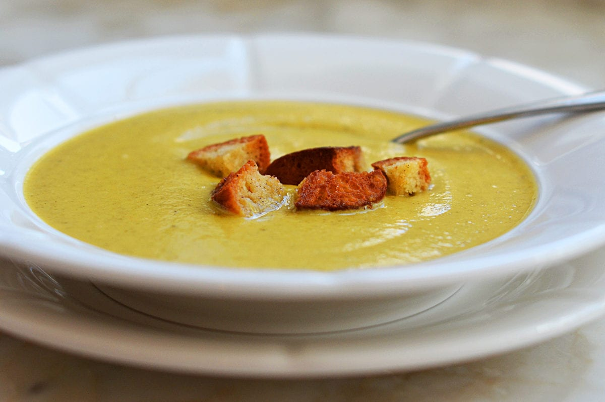 Broccoli & Cheese Soup with Homemade Croutons