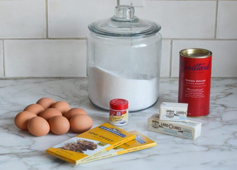 flourless chocolate cake with meringue ingredients
