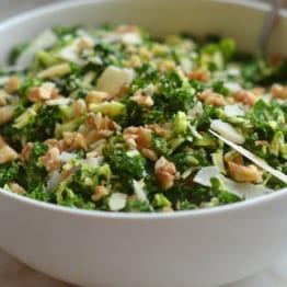 Kale & Brussels Sprout Salad with Walnuts, Parmesan & Lemon-Mustard Dressing