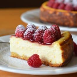 Ricotta Cheesecake with Fresh Raspberries