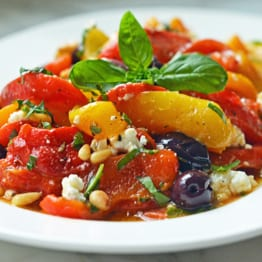 Roasted Pepper Salad with Feta, Pine Nuts & Basil