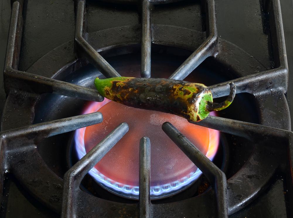 roasting jalapeno pepper on gas stove