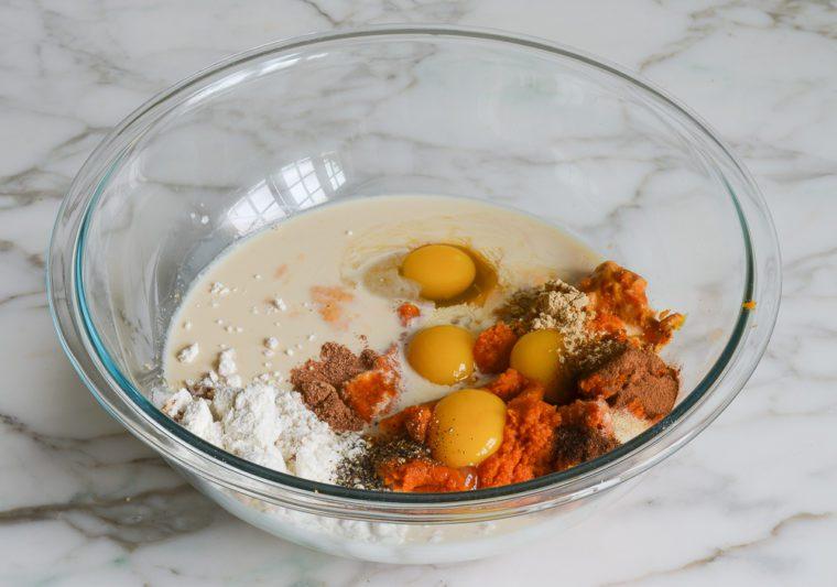 pumpkin pie filling ingredients in bowl