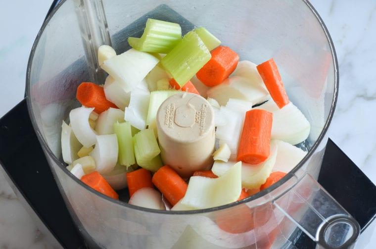 vegetables in bowl of food processor