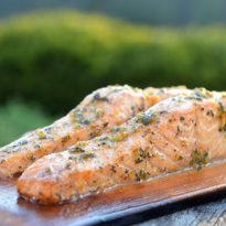 Cedar Planked Salmon with Lemon, Garlic & Herbs