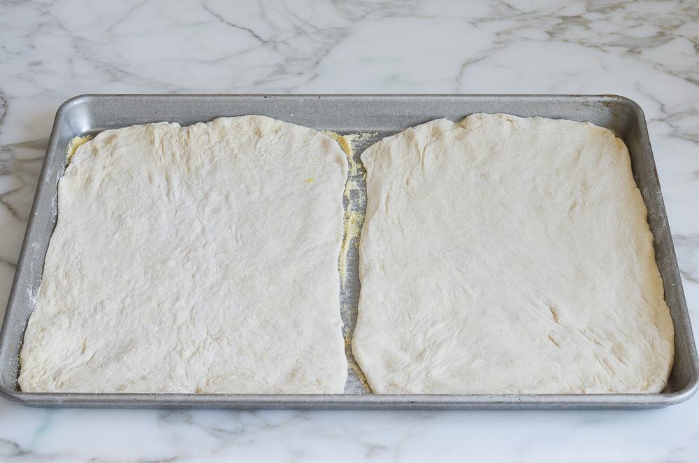 pizza dough on pan