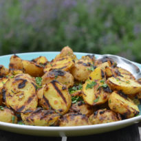 Grilled Baby Potatoes with Dijon Mustard & Herbs