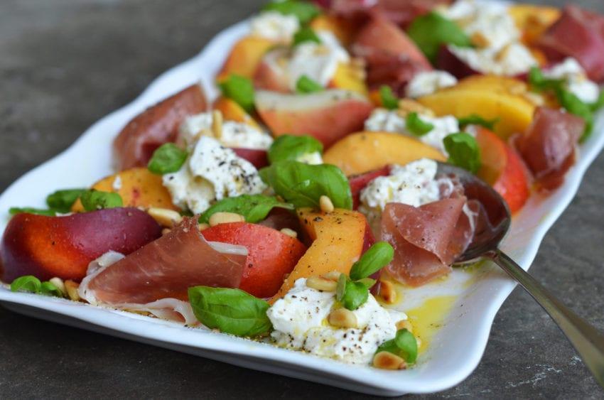 Peaches, Burrata & Prosciutto with White Balsamic Vinaigrette