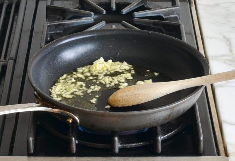 sautéing the garlic