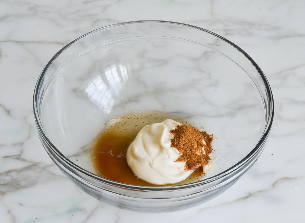 dressing ingredients in mixing bowl