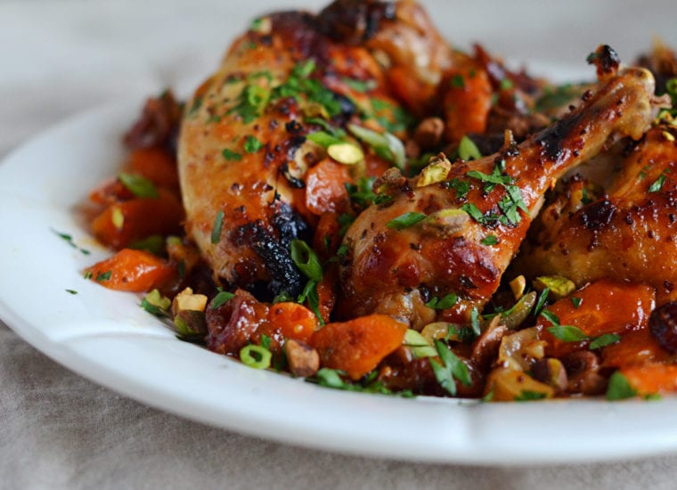 Sweet Spicy Roast Chicken With Carrots Dates Pistachios Once