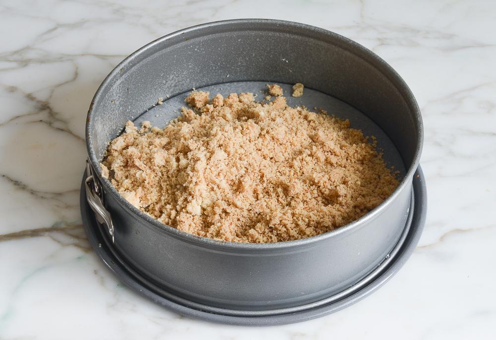 crust crumbs in pan