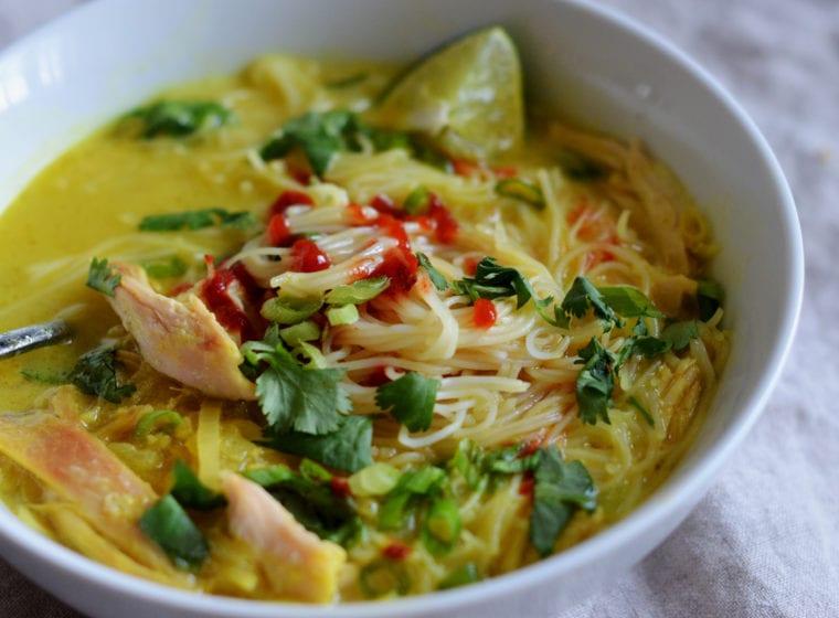 Thai chicken rice noodle soup
