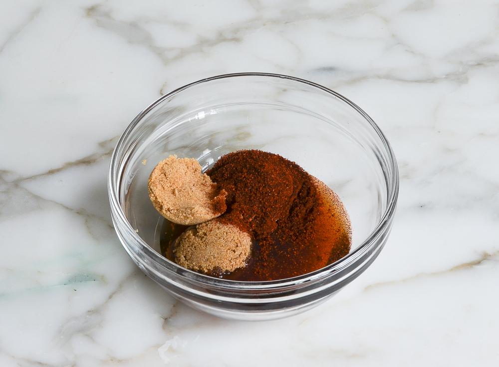 coating ingredients in mixing bowl