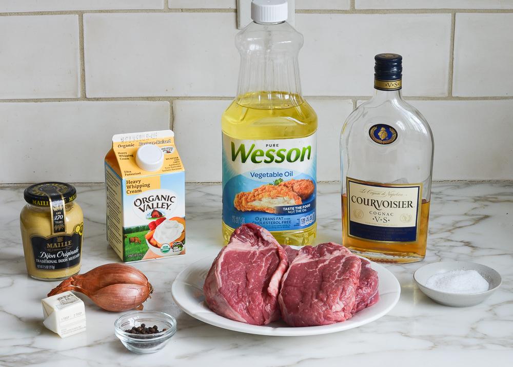 ingredients for steak au poivre