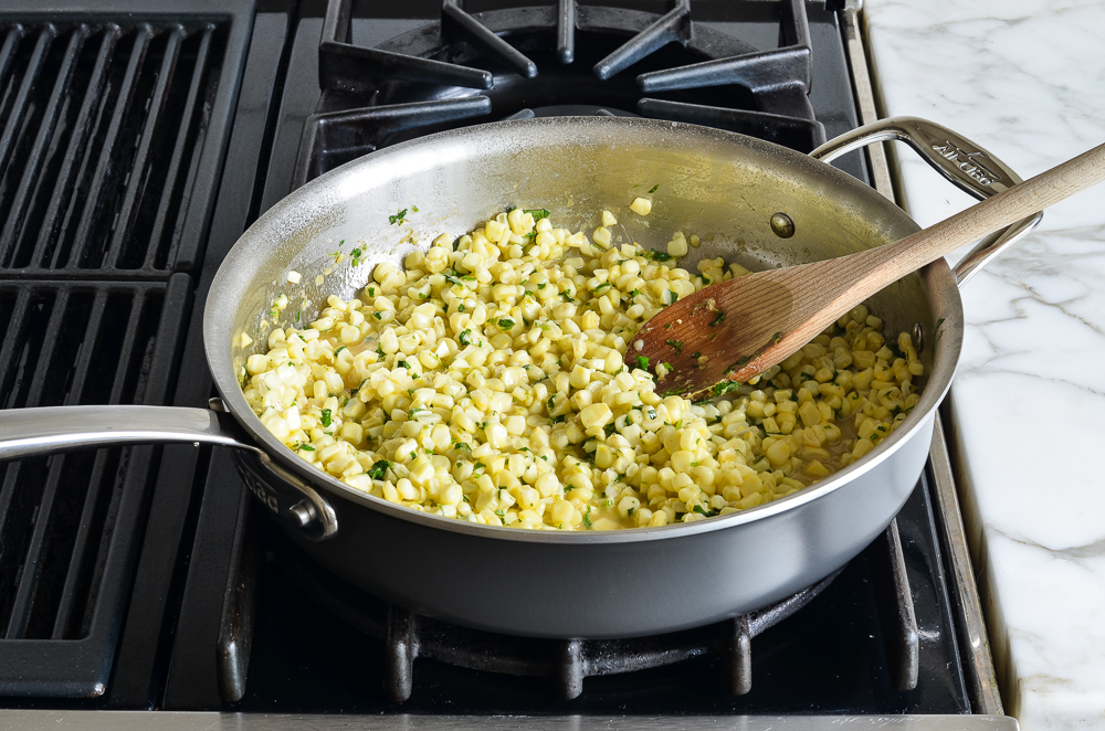 finished cilantro lime sweet corn in skillet